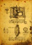 Vecchio disegno di ingegneria Fotografie Stock Libere da Diritti