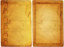 Vecchio documento con il blocco per grafici floreale Immagini Stock Libere da Diritti