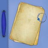 Vecchio documento con il diamante ed il nastro blu Fotografia Stock Libera da Diritti