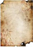 Vecchio documento con il disegno floreale fotografie stock