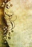 Vecchio documento con il reticolo floreale Fotografia Stock