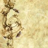 Vecchio documento con il reticolo floreale Immagini Stock