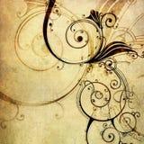 Vecchio documento con il reticolo floreale Immagini Stock Libere da Diritti