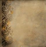 Vecchio documento con il reticolo floreale Fotografie Stock
