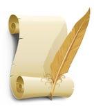 Vecchio documento con l'illustrazione di vettore della piuma Immagini Stock Libere da Diritti