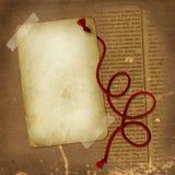 Vecchio documento con la corda rossa per desing Immagini Stock Libere da Diritti