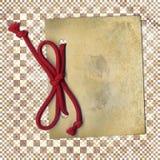 Vecchio documento con la corda su priorità bassa trasparente Fotografie Stock