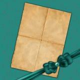 Vecchio documento per il disegno con l'arco verde Fotografie Stock Libere da Diritti