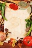 Vecchio documento per le ricette e le spezie Immagine Stock Libera da Diritti