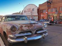Vecchio Dodge classico arrugginito, Lowell, Arizona Fotografie Stock