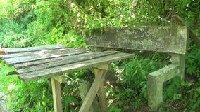 Vecchio e banco concreto abbandonato con la tavola stock footage