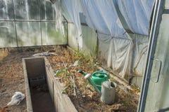 Vecchio e giardinaggio abbandonato della serra Latte e rastrelli di giardinaggio Preparando per la coltivazione delle verdure Fotografia Stock