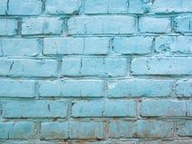 Vecchio e muro di mattoni consumato blu Fotografia Stock Libera da Diritti