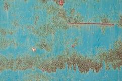 Vecchio e piatto d'acciaio arrugginito di colore verde Immagini Stock