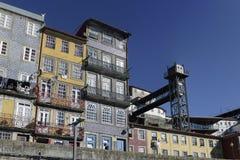 Vecchio elevatore di Oporto Ribeira Immagine Stock Libera da Diritti