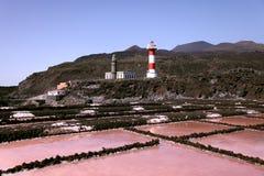 Vecchio faro al litorale di Palma della La Fotografia Stock