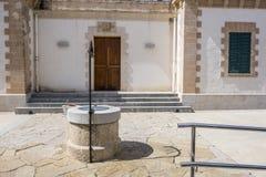 Vecchio faro, de Ses Coves lontano Blanques, città di Sant Antoni, immagini stock