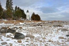 Vecchio faro dell'isola di Presque, Michigan S.U.A. Immagine Stock Libera da Diritti