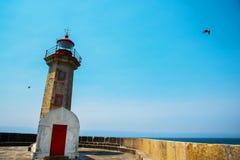 Vecchio faro a Oporto, Portogallo Immagine Stock Libera da Diritti