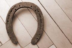 Vecchio ferro di cavallo fortunato Fotografia Stock