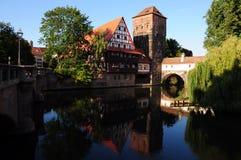 Vecchio fiume della città di Norimberga Immagine Stock Libera da Diritti