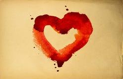 Vecchio foglio di carta, cuore Fotografie Stock