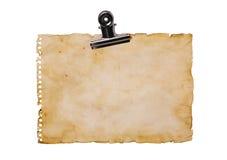 Vecchio foglio di carta di lerciume con la clip di bulldog Immagini Stock Libere da Diritti