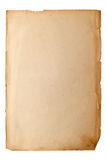 Vecchio foglio di carta ingiallito Fotografia Stock