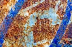 Vecchio fondo blu ed arancio astratto arrugginito Immagine Stock