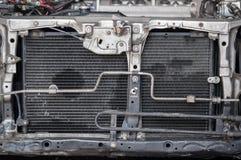Vecchio fondo compatto aperto vicino dell'alluminio del liquido refrigerante del radiatore dell'automobile Fotografia Stock