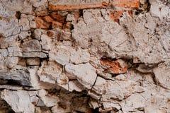 Vecchio fondo crollato indossato rosso di struttura del muro di mattoni Immagine Stock Libera da Diritti