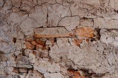 Vecchio fondo crollato indossato rosso di struttura del muro di mattoni Fotografia Stock