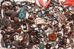 Vecchio fondo d'annata della raccolta di modo dei gioielli Fotografia Stock Libera da Diritti