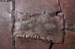 Vecchio fondo del metallo saldato Fotografia Stock