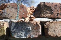 Vecchio fondo del primo piano di struttura del muro di mattoni Immagini Stock Libere da Diritti