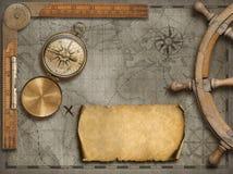 Vecchio fondo della mappa con la bussola Concetto di viaggio e di avventura illustrazione 3D Immagini Stock