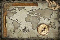 Vecchio fondo della mappa con la bussola, la corda ed il righello Concetto di viaggio e di avventura illustrazione 3D Fotografie Stock