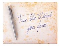Vecchio fondo di carta di lerciume - affronti le cose che temete Immagine Stock