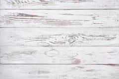Vecchio fondo di legno bianco, superficie di legno rustica con lo spazio della copia Fotografie Stock