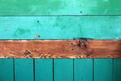 Vecchio fondo di legno di struttura di verde della plancia Fotografie Stock Libere da Diritti