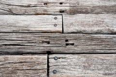 Vecchio fondo ferroviario di legno delle traversine Fotografia Stock