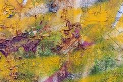 Vecchio fondo giallo astratto arrugginito Fotografia Stock