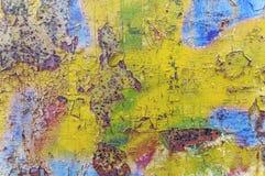 Vecchio fondo giallo e blu arrugginito Fotografia Stock