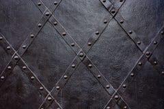 Vecchio fondo nero della porta del ferro, struttura, carta da parati, modello Fotografia Stock