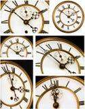 Vecchie viste del fronte di orologio sei immagine stock