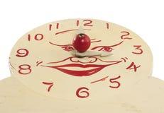 Vecchio fronte di orologio di legno Handmade del giocattolo Immagini Stock Libere da Diritti