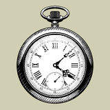 Vecchio fronte di orologio retro vigilanza di casella Fotografia Stock Libera da Diritti
