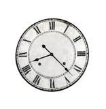 Vecchio fronte di orologio rotondo isolato Fotografia Stock