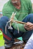 Vecchio gamberetto del gigante del fermo di manifestazione del pescatore Fotografia Stock Libera da Diritti