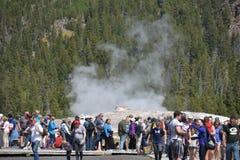 Vecchio geyser fedele al parco nazionale di Yellowstone Immagine Stock